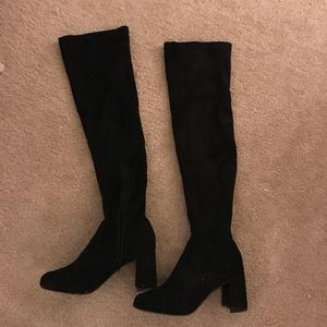Lulus Tahlia Black Suede Over the Knee Boots